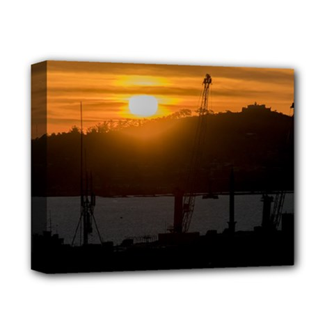 Aerial View Sunset Scene Of Montevideo Uruguay Deluxe Canvas 14  X 11  by dflcprints