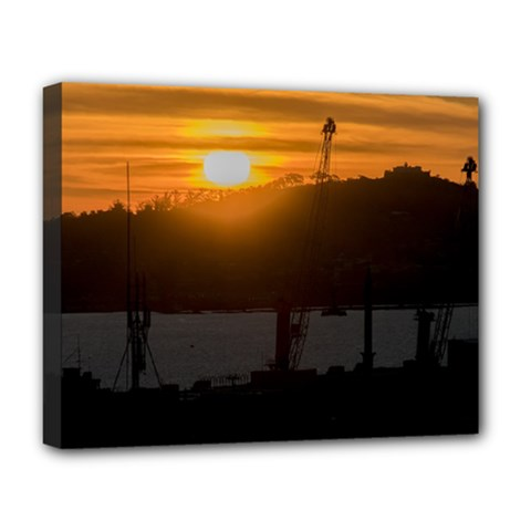 Aerial View Sunset Scene Of Montevideo Uruguay Deluxe Canvas 20  X 16   by dflcprints