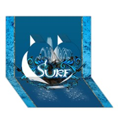 Surf, Surfboard With Water Drops On Blue Background Heart 3d Greeting Card (7x5)  by FantasyWorld7