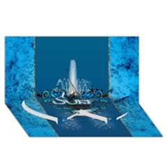 Surf, Surfboard With Water Drops On Blue Background Twin Heart Bottom 3d Greeting Card (8x4)