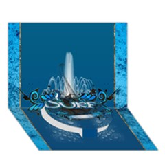 Surf, Surfboard With Water Drops On Blue Background Circle Bottom 3d Greeting Card (7x5)