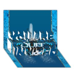 Surf, Surfboard With Water Drops On Blue Background You Are Invited 3d Greeting Card (7x5)  by FantasyWorld7