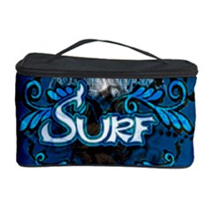 Surf, Surfboard With Water Drops On Blue Background Cosmetic Storage Cases by FantasyWorld7