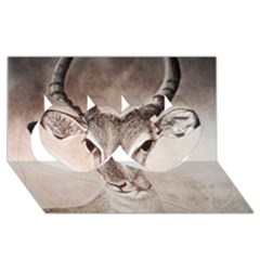 Antelope Horns Twin Hearts 3d Greeting Card (8x4)  by TwoFriendsGallery