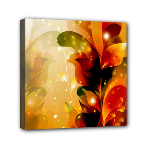 Awesome Colorful, Glowing Leaves  Mini Canvas 6  X 6  by FantasyWorld7
