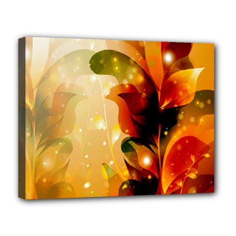 Awesome Colorful, Glowing Leaves  Canvas 14  X 11  by FantasyWorld7