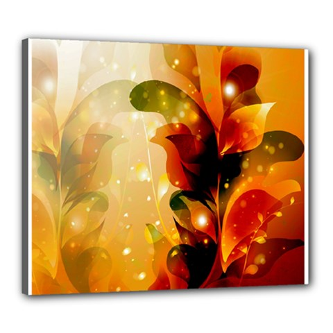 Awesome Colorful, Glowing Leaves  Canvas 24  X 20  by FantasyWorld7