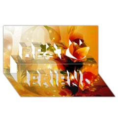 Awesome Colorful, Glowing Leaves  Best Friends 3d Greeting Card (8x4)