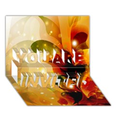 Awesome Colorful, Glowing Leaves  You Are Invited 3d Greeting Card (7x5)