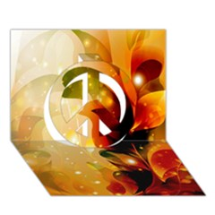 Awesome Colorful, Glowing Leaves  Peace Sign 3d Greeting Card (7x5)