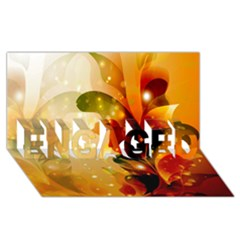 Awesome Colorful, Glowing Leaves  Engaged 3d Greeting Card (8x4)  by FantasyWorld7
