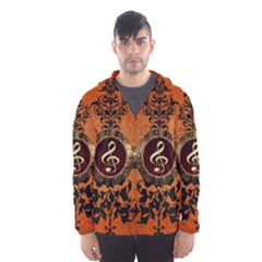 Wonderful Golden Clef On A Button With Floral Elements Hooded Wind Breaker (Men) by FantasyWorld7