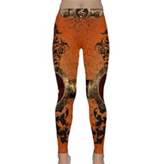 Wonderful Golden Clef On A Button With Floral Elements Yoga Leggings by FantasyWorld7