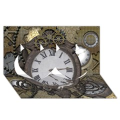 Steampunk, Awesome Clocks With Gears, Can You See The Cute Gescko Twin Hearts 3d Greeting Card (8x4)
