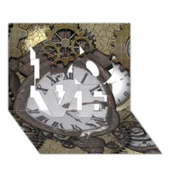 Steampunk, Awesome Clocks With Gears, Can You See The Cute Gescko Love 3d Greeting Card (7x5)