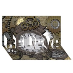 Steampunk, Awesome Clocks With Gears, Can You See The Cute Gescko Believe 3d Greeting Card (8x4)  by FantasyWorld7