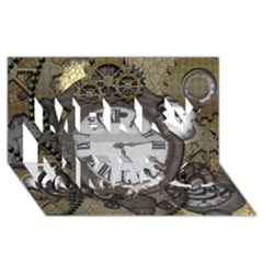 Steampunk, Awesome Clocks With Gears, Can You See The Cute Gescko Merry Xmas 3D Greeting Card (8x4)
