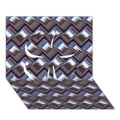Metal Weave Blue Clover 3d Greeting Card (7x5)
