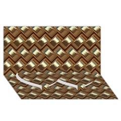 Metal Weave Golden Twin Heart Bottom 3d Greeting Card (8x4)  by MoreColorsinLife