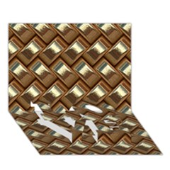 Metal Weave Golden Love Bottom 3d Greeting Card (7x5)