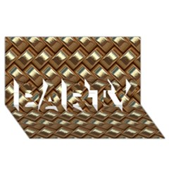 Metal Weave Golden Party 3d Greeting Card (8x4)