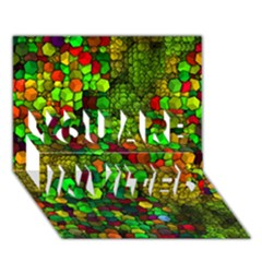 Artistic Cubes 01 You Are Invited 3d Greeting Card (7x5)