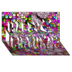 Artistic Cubes 3 Happy Birthday 3d Greeting Card (8x4)