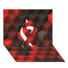 Artistic Cubes 7 Red Black Ribbon 3d Greeting Card (7x5)