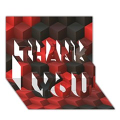 Artistic Cubes 7 Red Black Thank You 3d Greeting Card (7x5)