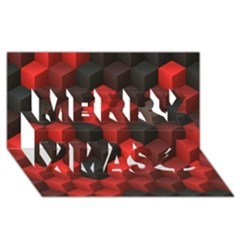 Artistic Cubes 7 Red Black Merry Xmas 3d Greeting Card (8x4)
