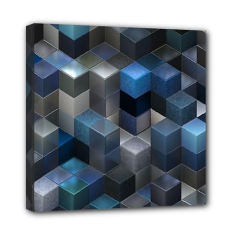 Artistic Cubes 9 Blue Mini Canvas 8  X 8  by MoreColorsinLife