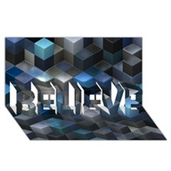 Artistic Cubes 9 Blue Believe 3d Greeting Card (8x4)