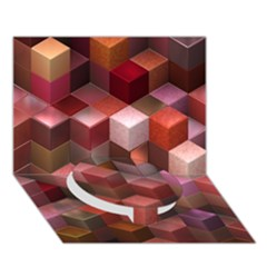 Artistic Cubes 9 Pink Red Circle Bottom 3d Greeting Card (7x5)  by MoreColorsinLife