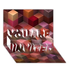 Artistic Cubes 9 Pink Red YOU ARE INVITED 3D Greeting Card (7x5)  by MoreColorsinLife