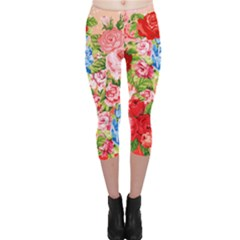 Pretty Sparkly Roses Capri Leggings