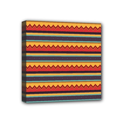 Waves And Stripes Pattern Mini Canvas 4  X 4  (stretched) by LalyLauraFLM