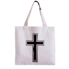 Red Christian Cross Zipper Grocery Tote Bag