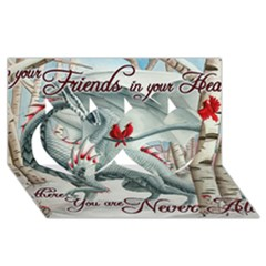 Lady Of The Fores Sts Twin Hearts 3d Greeting Card (8x4)