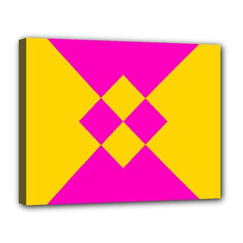 Yellow Pink Shapes Canvas 14  X 11  (stretched) by LalyLauraFLM