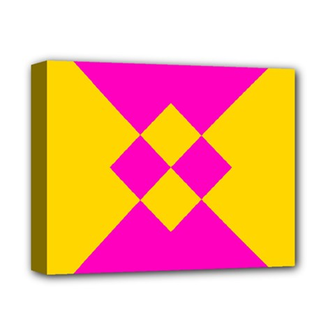 Yellow Pink Shapes Deluxe Canvas 14  X 11  (stretched) by LalyLauraFLM
