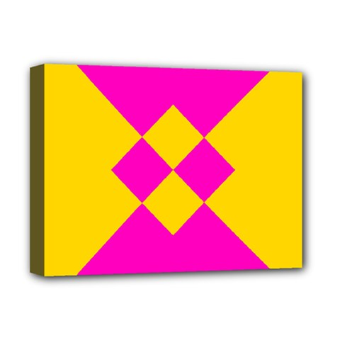 Yellow Pink Shapes Deluxe Canvas 16  X 12  (stretched)  by LalyLauraFLM