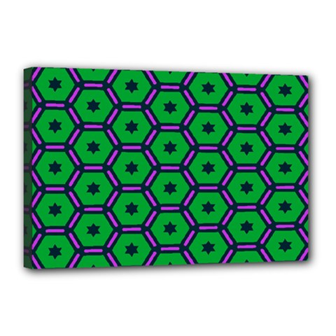 Stars In Hexagons Pattern Canvas 18  X 12  (stretched) by LalyLauraFLM
