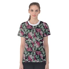 Grunge Check Printed Women s Cotton Tees by dflcprintsclothing
