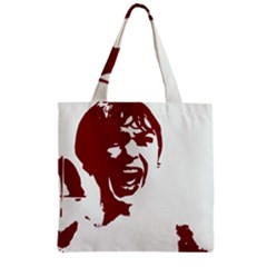 Psycho Zipper Grocery Tote Bags by icarusismartdesigns
