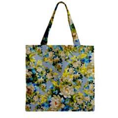 Vintage Floral Pattern Zipper Grocery Tote Bags by LovelyDesigns4U