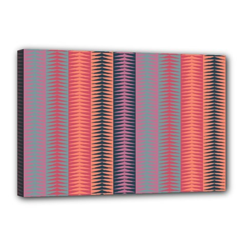 Triangles And Stripes Pattern Canvas 18  X 12  (stretched) by LalyLauraFLM