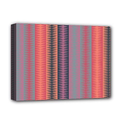 Triangles And Stripes Pattern Deluxe Canvas 16  X 12  (stretched)  by LalyLauraFLM