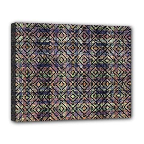 Multicolored Ethnic Check Seamless Pattern Canvas 14  X 11  by dflcprints