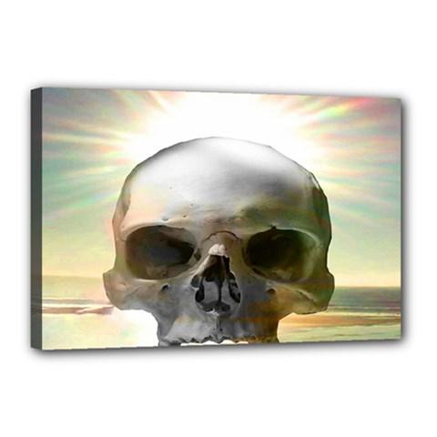 Skull Sunset Canvas 18  X 12  by icarusismartdesigns