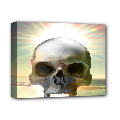 Skull Sunset Deluxe Canvas 14  X 11  by icarusismartdesigns